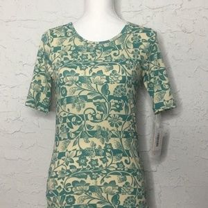 Lularoe GIGI Women's Green and Yellow with Flowers